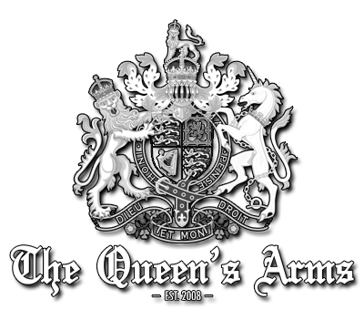 The Queen's Arms logo which includes the British coat of arms